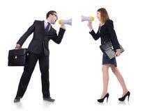 Επιχειρηματίας και επιχειρηματίας με megaphone Στοκ Φωτογραφία