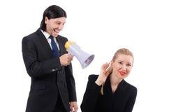 Επιχειρηματίας και επιχειρηματίας με megaphone Στοκ φωτογραφίες με δικαίωμα ελεύθερης χρήσης