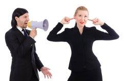 Επιχειρηματίας και επιχειρηματίας με megaphone Στοκ εικόνα με δικαίωμα ελεύθερης χρήσης