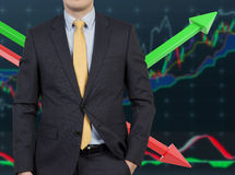 Επιχειρηματίας και διάγραμμα χρώματος Στοκ φωτογραφία με δικαίωμα ελεύθερης χρήσης