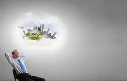 Επιχειρηματίας και ιδέες στο κεφάλι του Στοκ Φωτογραφίες