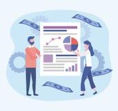Επιχειρηματίας και επιχειρηματίας με τις πληροφορίες εγγράφων διαγραμμάτων διανυσματική απεικόνιση