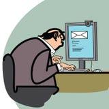 Επιχειρηματίας και μια επιστολή στον υπολογιστή Στοκ Φωτογραφίες