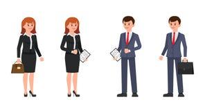 Επιχειρηματίας και επιχειρηματίας που στέκονται με το χαρτοφύλακα και τον καφέ Διανυσματική απεικόνιση των χαρακτηρών κινουμένων  απεικόνιση αποθεμάτων