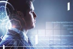 Επιχειρηματίας και ψηφιακή απεικόνιση cyber Στοκ εικόνα με δικαίωμα ελεύθερης χρήσης