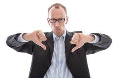 Επιχειρηματίας καταπονημένος με το κόκκινο ρολόι που απομονώνεται στο άσπρο backgrou Στοκ Φωτογραφίες