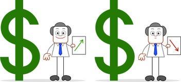 Επιχειρηματίας κινούμενων σχεδίων με την αξία δολαρίων πάνω-κάτω Στοκ εικόνα με δικαίωμα ελεύθερης χρήσης