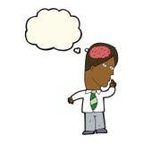 επιχειρηματίας κινούμενων σχεδίων με τον τεράστιο εγκέφαλο με τη σκεπτόμενη φυσαλίδα Στοκ Εικόνες