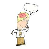 επιχειρηματίας κινούμενων σχεδίων με τον τεράστιο εγκέφαλο με τη λεκτική φυσαλίδα Στοκ φωτογραφία με δικαίωμα ελεύθερης χρήσης