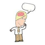 επιχειρηματίας κινούμενων σχεδίων με τον τεράστιο εγκέφαλο με τη λεκτική φυσαλίδα Στοκ Εικόνες