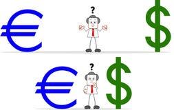 Επιχειρηματίας κινούμενων σχεδίων με το ευρώ και το δολάριο Στοκ φωτογραφίες με δικαίωμα ελεύθερης χρήσης
