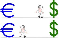 Επιχειρηματίας κινούμενων σχεδίων με το ευρώ και το δολάριο Στοκ Εικόνες