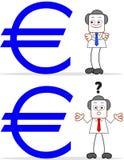 Επιχειρηματίας κινούμενων σχεδίων με το ευρώ Στοκ φωτογραφία με δικαίωμα ελεύθερης χρήσης