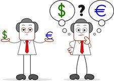Επιχειρηματίας κινούμενων σχεδίων με το δολάριο και το ευρώ Στοκ φωτογραφίες με δικαίωμα ελεύθερης χρήσης