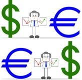 Επιχειρηματίας κινούμενων σχεδίων με το δολάριο και το ευρώ Στοκ φωτογραφία με δικαίωμα ελεύθερης χρήσης