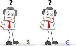 Επιχειρηματίας κινούμενων σχεδίων με το δολάριο και το ευρώ Στοκ Εικόνες