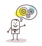 Επιχειρηματίας κινούμενων σχεδίων που σκέφτεται για τις νέες έννοιες ελεύθερη απεικόνιση δικαιώματος