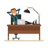 Επιχειρηματίας κινούμενων σχεδίων που στηρίζεται σε έναν εργασιακό χώρο Εύθυμη συνεδρίαση ατόμων απεικόνιση αποθεμάτων