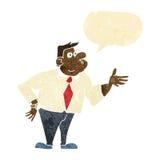 επιχειρηματίας κινούμενων σχεδίων που υποβάλλει την ερώτηση με τη λεκτική φυσαλίδα Στοκ Εικόνα