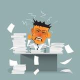 Επιχειρηματίας κινούμενων σχεδίων πολυάσχολος, πίεση ή ένταση, καταπονημένος, καταθλιπτικός και εξαντλημένος Ελεύθερη απεικόνιση δικαιώματος