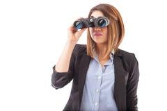 Επιχειρηματίας κοιτάζοντας μπροστά στην επιχείρησή της Στοκ Εικόνες