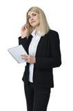 Επιχειρηματίας με ένα σημειωματάριο Στοκ εικόνες με δικαίωμα ελεύθερης χρήσης