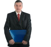 Επιχειρηματίας με ένα lap-top που απομονώνεται στο άσπρο υπόβαθρο Στοκ Φωτογραφία