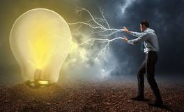 Επιχειρηματίας με μαγικό Στοκ Εικόνες
