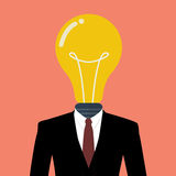 Επιχειρηματίας με μια λάμπα φωτός αντί του κεφαλιού Στοκ φωτογραφίες με δικαίωμα ελεύθερης χρήσης