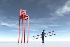 Επιχειρηματίας με μια σκάλα εκτός από μια μακριά καρέκλα ποδιών διανυσματική απεικόνιση