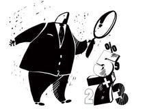 Επιχειρηματίας με πιό magnifier Ελεύθερη απεικόνιση δικαιώματος