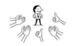 Επιχειρηματίας με πολλά χέρια που χτυπά την επευφημία και τα πλήγματα επάνω στο άσπρο υπόβαθρο επιδοκιμάστε τα χέρια απομονωμένο  ελεύθερη απεικόνιση δικαιώματος