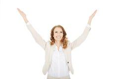 Επιχειρηματίας με τα ανοικτά χέρια επάνω Στοκ φωτογραφία με δικαίωμα ελεύθερης χρήσης