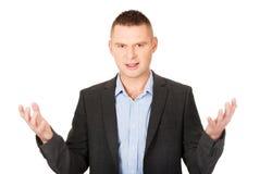 0 επιχειρηματίας με τα ανοικτά χέρια Στοκ φωτογραφία με δικαίωμα ελεύθερης χρήσης