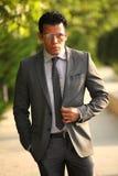 Επιχειρηματίας με τα γυαλιά, γκρίζο κοστούμι στοκ εικόνες με δικαίωμα ελεύθερης χρήσης