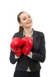 Επιχειρηματίας με τα εγκιβωτίζοντας γάντια που απομονώνεται στο λευκό Στοκ Εικόνα