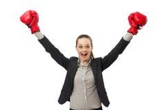Επιχειρηματίας με τα εγκιβωτίζοντας γάντια που απομονώνεται στο λευκό Στοκ φωτογραφία με δικαίωμα ελεύθερης χρήσης