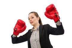 Επιχειρηματίας με τα εγκιβωτίζοντας γάντια που απομονώνεται στο λευκό Στοκ εικόνες με δικαίωμα ελεύθερης χρήσης