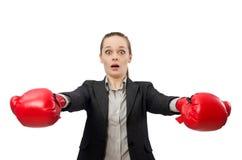 Επιχειρηματίας με τα εγκιβωτίζοντας γάντια που απομονώνεται Στοκ Εικόνες