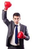 Επιχειρηματίας με τα εγκιβωτίζοντας γάντια Στοκ Εικόνα