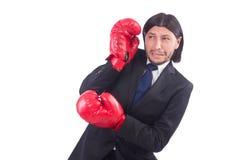 Επιχειρηματίας με τα εγκιβωτίζοντας γάντια Στοκ φωτογραφία με δικαίωμα ελεύθερης χρήσης