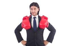 Επιχειρηματίας με τα εγκιβωτίζοντας γάντια Στοκ Εικόνες