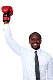 Επιχειρηματίας με τα εγκιβωτίζοντας γάντια Στοκ εικόνες με δικαίωμα ελεύθερης χρήσης
