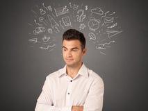 Επιχειρηματίας με τα κοινωνικά εικονίδια Στοκ Εικόνες