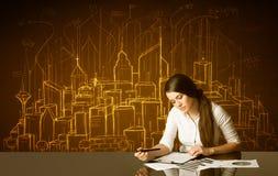 Επιχειρηματίας με τα κτήρια και τους αριθμούς Στοκ Εικόνα