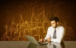 Επιχειρηματίας με τα κτήρια και τους αριθμούς Στοκ Φωτογραφία