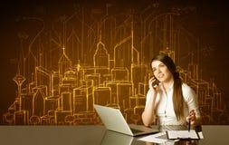 Επιχειρηματίας με τα κτήρια και τους αριθμούς Στοκ Εικόνες