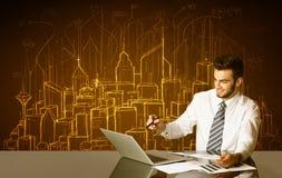 Επιχειρηματίας με τα κτήρια και τους αριθμούς Στοκ Φωτογραφίες