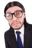 Επιχειρηματίας με τα σπασμένα γυαλιά ματιών που απομονώνεται επάνω Στοκ φωτογραφίες με δικαίωμα ελεύθερης χρήσης