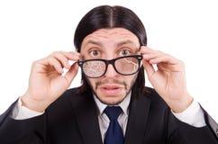 Επιχειρηματίας με τα σπασμένα γυαλιά ματιών που απομονώνεται επάνω Στοκ φωτογραφία με δικαίωμα ελεύθερης χρήσης